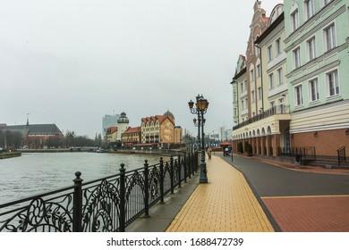 Kaliningrad, Kaliningrad Oblast / Russia - 12 22 2019: Fishing Village, the biggest tourist attraction in Kaliningrad