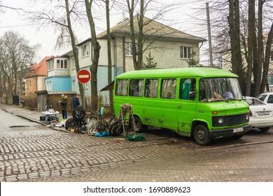 Kaliningrad, Kaliningrad Oblast / Russia - 12 22 2019: street sale of second hand goods