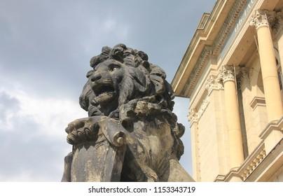 KALININGRAD, KALININGRAD OBLAST / RUSSIA - APRIL 26 2016: Lion statue near Konigsberg trade exchange in the Kaliningrad historical center