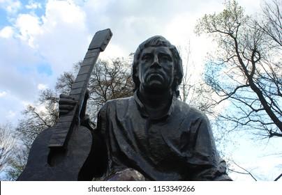 KALININGRAD, KALININGRAD OBLAST / RUSSIA - APRIL 26 2016: Monument to the actor Vladimir Vysotsky in the Central park of the Kaliningrad city