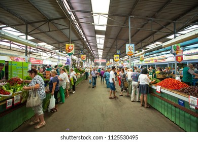 KALININGRAD, RUSSIA, 1 JULY, 2018: buyers choose products in a large grocery market