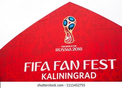 KALININGRAD, RUSSIA, 11 JUNE, 2018: logo of the FIFA World Cup 2018 in Russia in fan sector