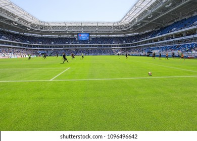 "KALININGRAD, RUSSIA, 12 MAY, 2018: match of the Russian national football league between Baltika and Tyumen. The grand opening of the stadium ""Kaliningrad"""