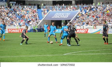 "KALININGRAD, RUSSIA, 12 MAY, 2018: match of the Russian national football league between Baltika and Tyumen. The grand opening of the stadium ""Kaliningrad"""