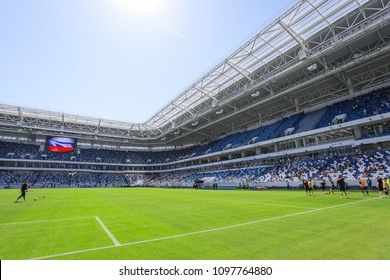 "KALININGRAD, RUSSIA, 12 MAY, 2018: the interior of the new football stadium for the World Cup 2018. The grand opening of the stadium ""Kaliningrad"""