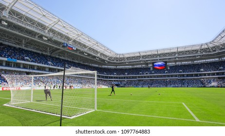 """KALININGRAD, RUSSIA, 12 MAY, 2018: the interior of the new football stadium for the World Cup 2018. The grand opening of the stadium """"Kaliningrad"""""""