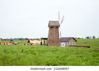 KALININGRAD RUSSIA, 21 AUGUST 2016: Historical reenactment of the Battle of Gumbinnen, World War I, fake village, Kaliningrad region, Russia.