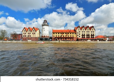 KALININGRAD, RUSSIA - 22 APRIL 2017: The fishing village-the cultural and ethnographic complex, the tourist attraction of the city. Kaliningrad City Symbol