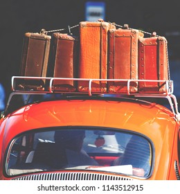 KALININGRAD, RUSSIA, 22 JULY, 2018: suitcases with things on the roof of the car, retro toned