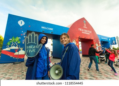 KALININGRAD, RUSSIA, 22 JUNE, 2018: Volunteers at the World Cup in Russia 2018