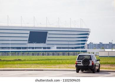 "KALININGRAD, RUSSIA, 27 MAY, 2018: large parking in the stadium ""Kaliningrad"", World cup FIFA 2018"