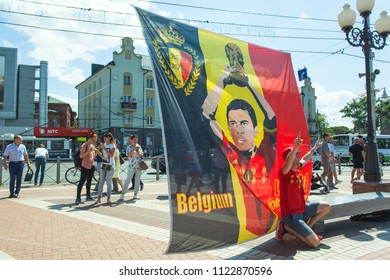 KALININGRAD, RUSSIA, 28 JUNE, 2018: cheerful and happy belgian fans at the World Cup in Russia in 2018