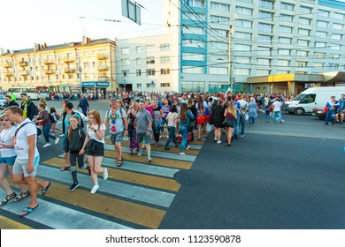 KALININGRAD, RUSSIA, 28 JUNE, 2018: tourists walk around the city during the World Cup 2018