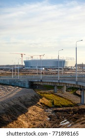 KALININGRAD, RUSSIA, 9 DECEMBER, 2017: Construction of the stadium for the World Cup, FIFA 2018