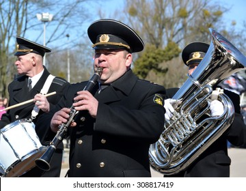 KALININGRAD, RUSSIA - APRIL 09, 2015: Musicians of a brass naval band