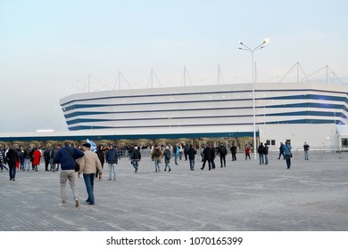 KALININGRAD, RUSSIA - APRIL 11, 2018: The audience goes on Baltic Arena stadium