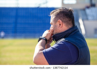 Kaliningrad, Russia, April 17, 2019: U18 European Rugby Championship, coach gives advice to players from the edge of the field