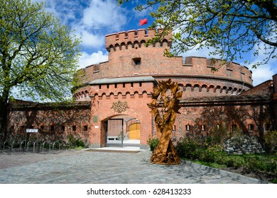 KALININGRAD, RUSSIA - APRIL 22, 2017: Defensive tower Dona, old german military fortification, was built in 1853, Inside is a Museum of amber