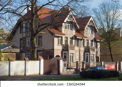 KALININGRAD, RUSSIA - APRIL 24, 2016: Typical building in historical part of Kaliningrad. Before 1945 is was german town Konigsberg, after World War II became a Russian, renamed Kaliningrad in 1946.