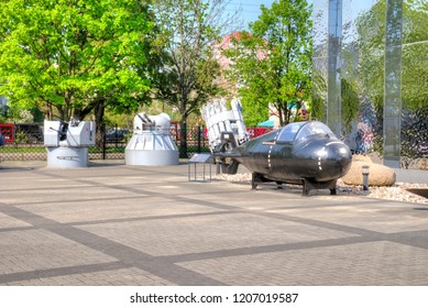 KALININGRAD, RUSSIA - April 30.2018: Exhibition buildings and exhibits on the territory of the Museum of the World Ocean. Super small submarine Triton-1M project 907