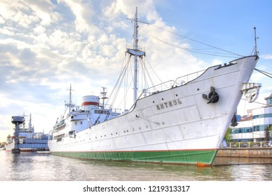 KALININGRAD, RUSSIA - April 30.2018: Exhibition buildings and exhibits on the territory of the Museum of the World Ocean. Soviet research vessel Vityaz on the Pregolya River