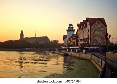 Kaliningrad, Russia - August 03, 2014: Sunset at the fishermen village on the river Peregolya, Kaliningrad, Russia
