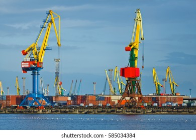 Kaliningrad, Russia - August 07 2012: The cranes in a port of Kaliningrad at sunny day