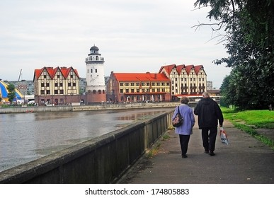 KALININGRAD, RUSSIA - AUGUST 14: View of the Fish village, a renovated historic place and popular touristic landmark in Kaliningrad. Taken on August 14, 2012 in Kaliningrad, Russia.