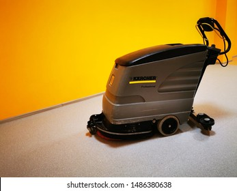 Kaliningrad, Russia - August 22, 2019: school. A Large scrubber. Machine for washing and cleaning floors in public areas