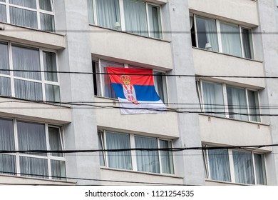 KALININGRAD, RUSSIA - CIRCA JUNE 2018: Serbian football fans before the match with Switzerland during the World Cup 2018 circa June 2018 in Kaliningrad.