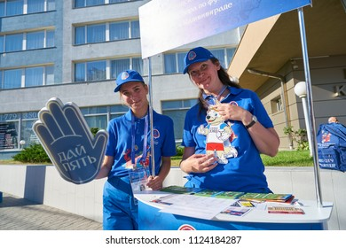 KALININGRAD, RUSSIA - CIRCA JUNE, 2018: FIFA World Cup 2018 host-city volunteers with a foam hand in Kaliningrad.