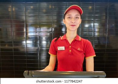 KALININGRAD, RUSSIA - CIRCA SEPTEMBER, 2018: worker in McDonald's restaurant. McDonald's is an American fast food company.