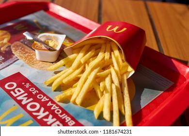 KALININGRAD, RUSSIA - CIRCA SEPTEMBER, 2018: food served on tray at McDonald's restaurant.
