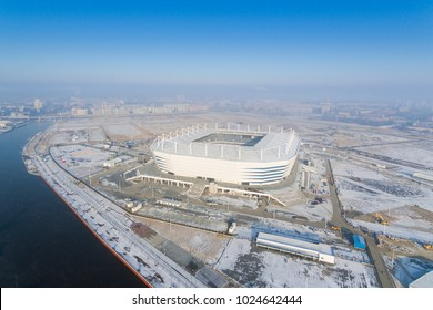 Kaliningrad, Russia - February 08 2018: The construction of the new stadium for the Soccer World Cup 2018 at winter morning, aerial view