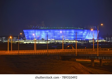 KALININGRAD, RUSSIA - JANUARY 03, 2018: Evening illumination of Baltic Arena stadium for holding games of the FIFA World Cup of 2018