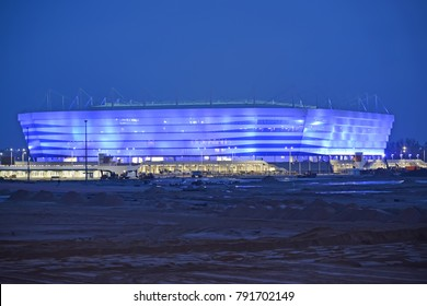 KALININGRAD, RUSSIA - JANUARY 03, 2018: Baltic Arena stadium for holding games of the FIFA World Cup of 2018 at night