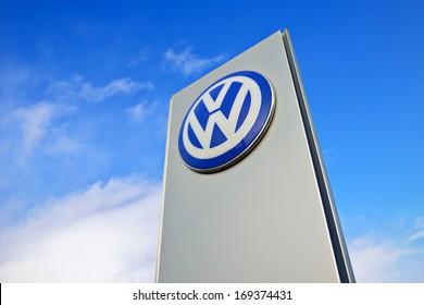 KALININGRAD, RUSSIA - JANUARY 2: The emblem dealership Volkswagen on January 2, 2014 in Kaliningrad, Russia. Volkswagen is a German multinational automotive manufacturing company
