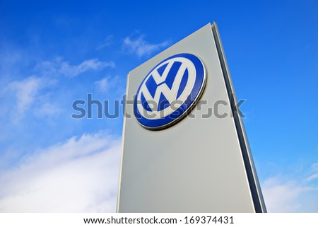 KALININGRAD, RUSSIA - JANUARY 2: The emblem dealership Volkswagen on January 2, 2014 in Kaliningrad, Russia. Volkswagen is a German multinational automotive manufacturing company