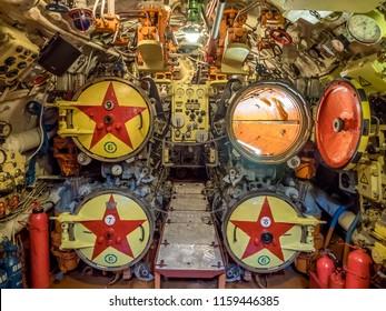 Kaliningrad, Russia - January, 2018. Museum Submarine B-413. View of torpedo room in submarine.