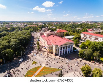 Kaliningrad, Russia - July 09 2017: Bird-eye view of the crowd of people on a pedestrian streets during the city day of Kaliningrad