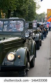 KALININGRAD, RUSSIA - JULY 14: retro military jeeps on City Day of Kaliningrad celebration on July 14, 2013 in Kaliningrad, Russia