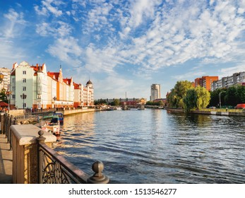 KALININGRAD, RUSSIA - July 15, 2019. Fishing village - historical, ethnographic, trade and craft complex. City block, built up with buildings in style of the pre-war East Prussian city of Koenigsberg