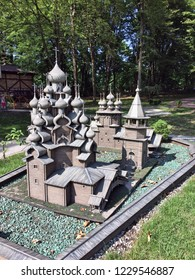 Kaliningrad, Russia - July 18, 2018: Model of the wooden church of the Transfiguration. Miniature Park in the city of Kaliningrad. Russia