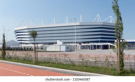 Kaliningrad / Russia - June 01 2018 :  Kaliningrad stadium for holding games of the FIFA World Cup of 2018.