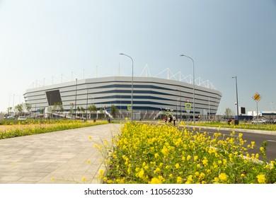 Kaliningrad / Russia - June 04 2018 : Kaliningrad stadium for holding games of the FIFA World Cup of 2018