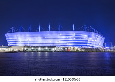 Kaliningrad, Russia, June 10, 2018: Football stadium arena, where there will be World Cup 2018 in the night