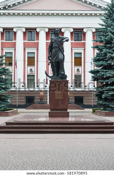 KALININGRAD, RUSSIA - June 15, 2016: Monument to Peter the Great, founder of the fleet, near the headquarters of the Baltic fleet, Kaliningrad