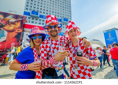 Kaliningrad - Russia, June 16, 2018: Football fans support teams on the streets of the city on the day of the match between Croatia and Nigeria
