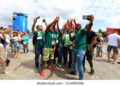 KALININGRAD, RUSSIA - JUNE 16, 2018: A team of fans. The period of the International FIFA World Cup 2018 in Russia