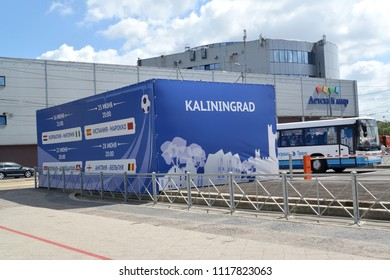 KALININGRAD, RUSSIA - JUNE 20, 2018: A promotional and informational banner with the schedule of games of the FIFA World Cup. The Russian text - the Toy Store